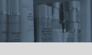 Skincare Product Display on Blue Tint Widget Background
